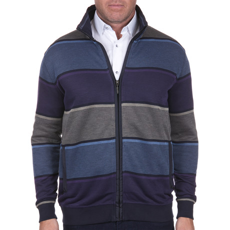 Striped Zip-Up Sweater // Multicolor (S)