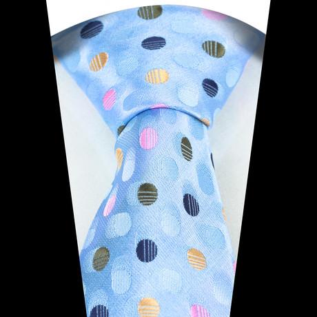 Silk Neck Tie + Gift Box // Blue + Multi Color Polka Dots