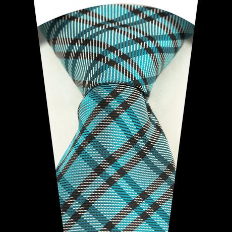 Silk Neck Tie + Gift Box // Turquoise Blue + Black Plaid