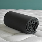"Case Jersey Fitted Sheet // Ebony + Dark Gray (Full/Corner height 12"")"