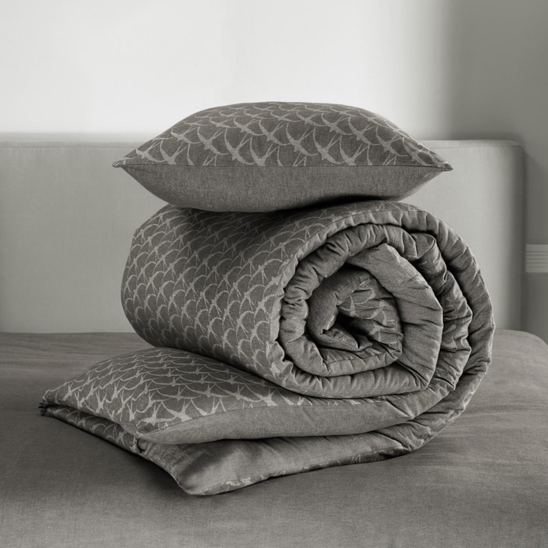 birds duvet cover set charcoal gray dark gray twin de witte lietaer touch of modern. Black Bedroom Furniture Sets. Home Design Ideas