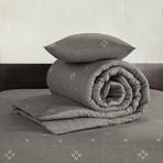 Snow Duvet Cover Set // Charcoal Gray + Dark Gray (Twin)