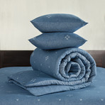 Snow Duvet Cover Set // Nightshadow Blue +Midnight Blue (Twin)