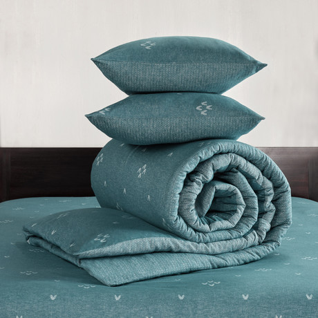Snow Duvet Cover Set // Pagoda Blue + Blue Green (Twin)