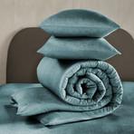 Tarbot Duvet Cover Set // Pagoda Blue + Blue Green (Twin)