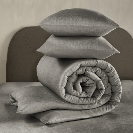 Tarbot Duvet Cover Set // Charcoal Gray + Dark Gray (Twin)
