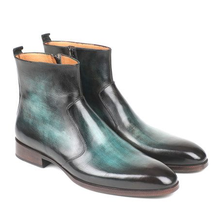 Burnished Side Zipper Boots // Turquoise (Euro: 37)