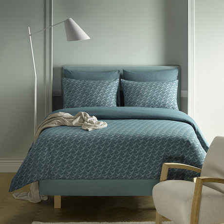 Birds Duvet Cover Set // Pagoda Blue + Blue Green (Twin)