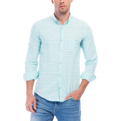 Horizontal Striped Long Sleeve Button-Up // Mint + White (L)