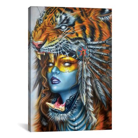 """Tiger Huntress I // Derek Turcotte (12""""W x 18""""H x 0.75""""D)"""