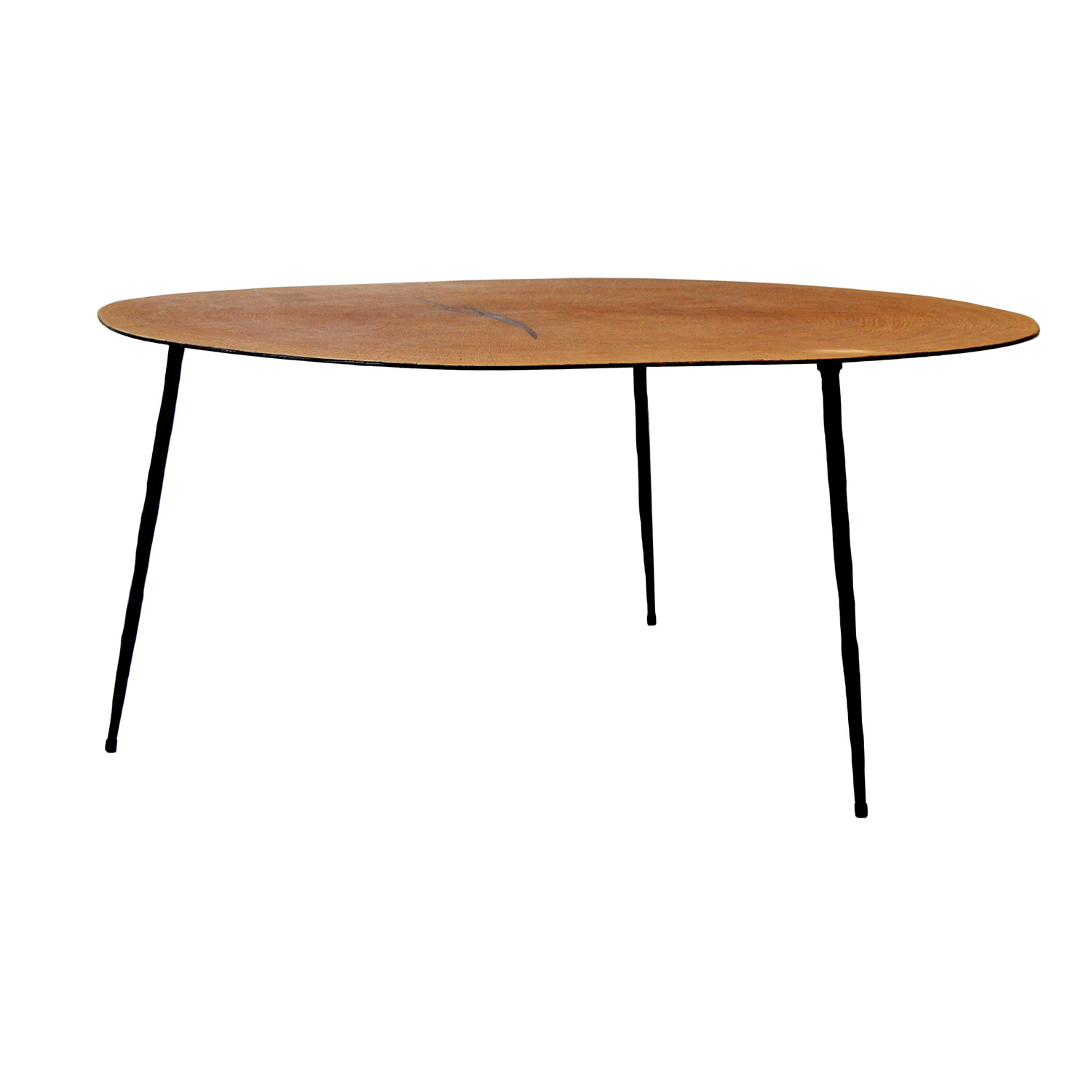 Oakley 14 tall coffee table oak veneer black iron - How tall should a coffee table be ...