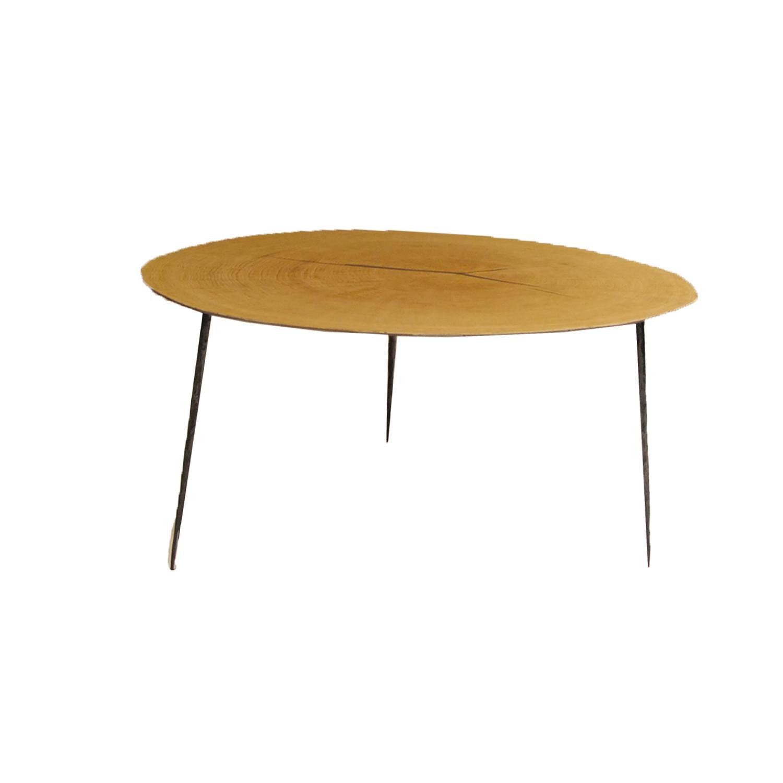 """Oakley // 14"""" Tall Coffee Table // Oak Veneer + Black Iron"""
