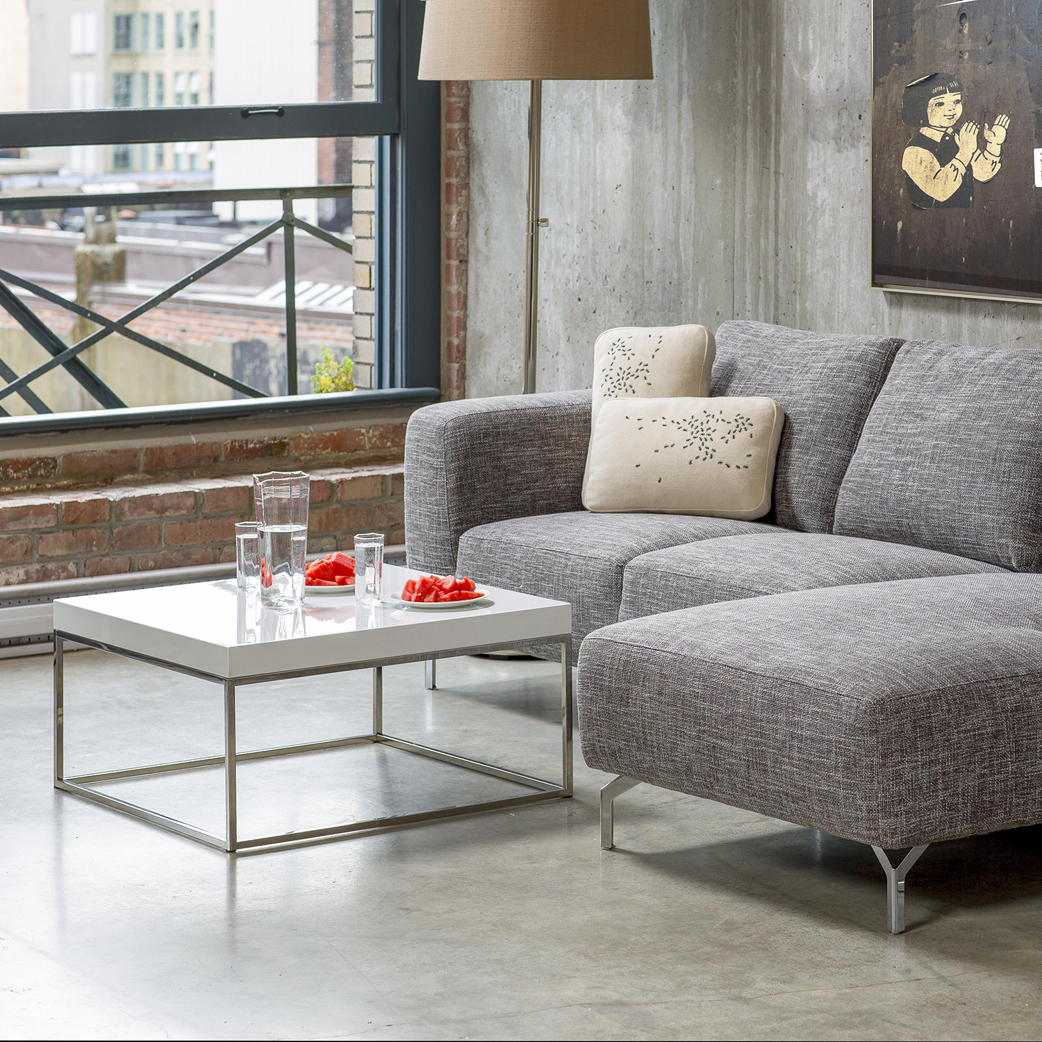 Kubo 30 square coffee table high gloss white - How high is a coffee table ...