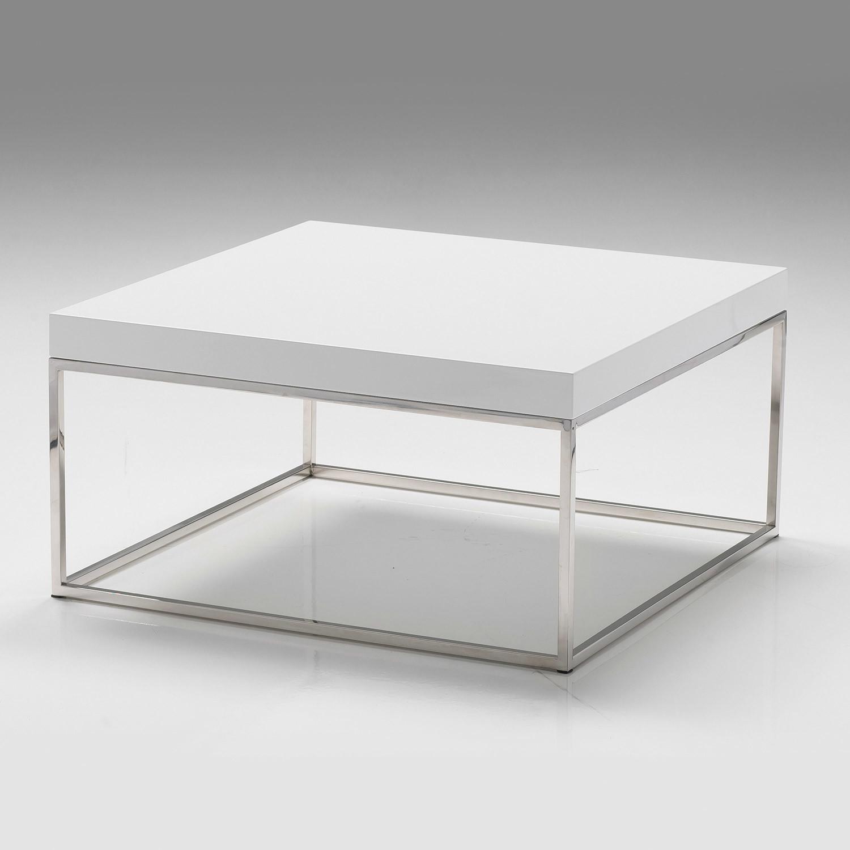 "Modern High Gloss White Square Coffee Table With 2 Layers: Kubo // 30"" Square Coffee Table // High Gloss White"
