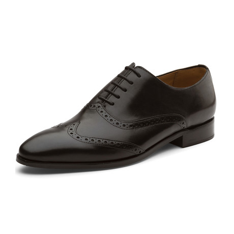 Jovany Brogue Oxford Wing-Tip Lace up Leather Lined Dress Shoes // Black (UK: 6)