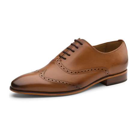 Urijah Brogue Oxford Wing-Tip Lace up Leather Lined Dress Shoes // Tan (UK: 6)
