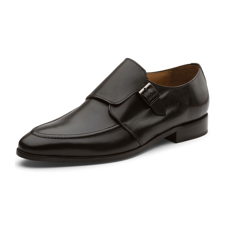 Marquis Classic Single Monkstrap Leather Lined Perforated Dress Oxfords Shoes // Black (UK: 6)