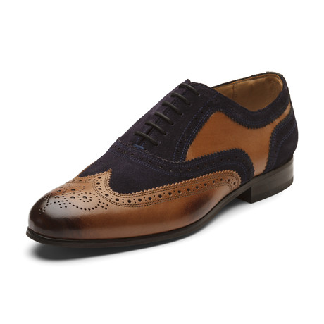 Keenan Oxford Leather Lined Shoes // Tan + Navy (UK: 6)