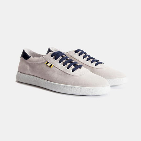 Suede Low Sneaker // White + Navy (Euro: 40)