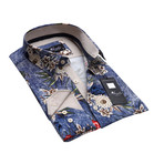 Floral Reversible Cuff Button-Down Shirt II // Blue (XL)