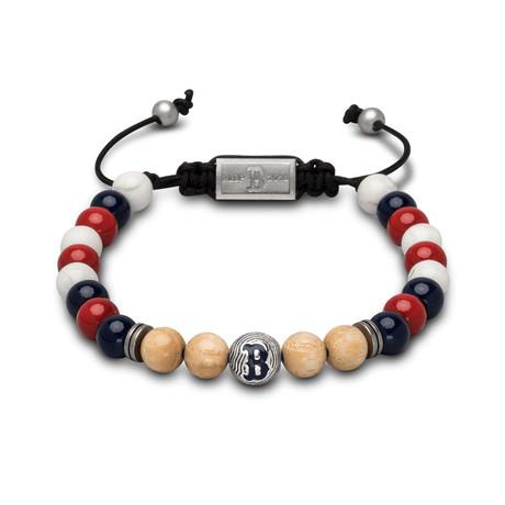 Red Sox Macrame Bracelet // Round