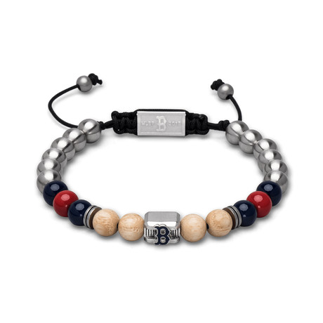 Red Sox Enamel Macrame Bracelet // Square