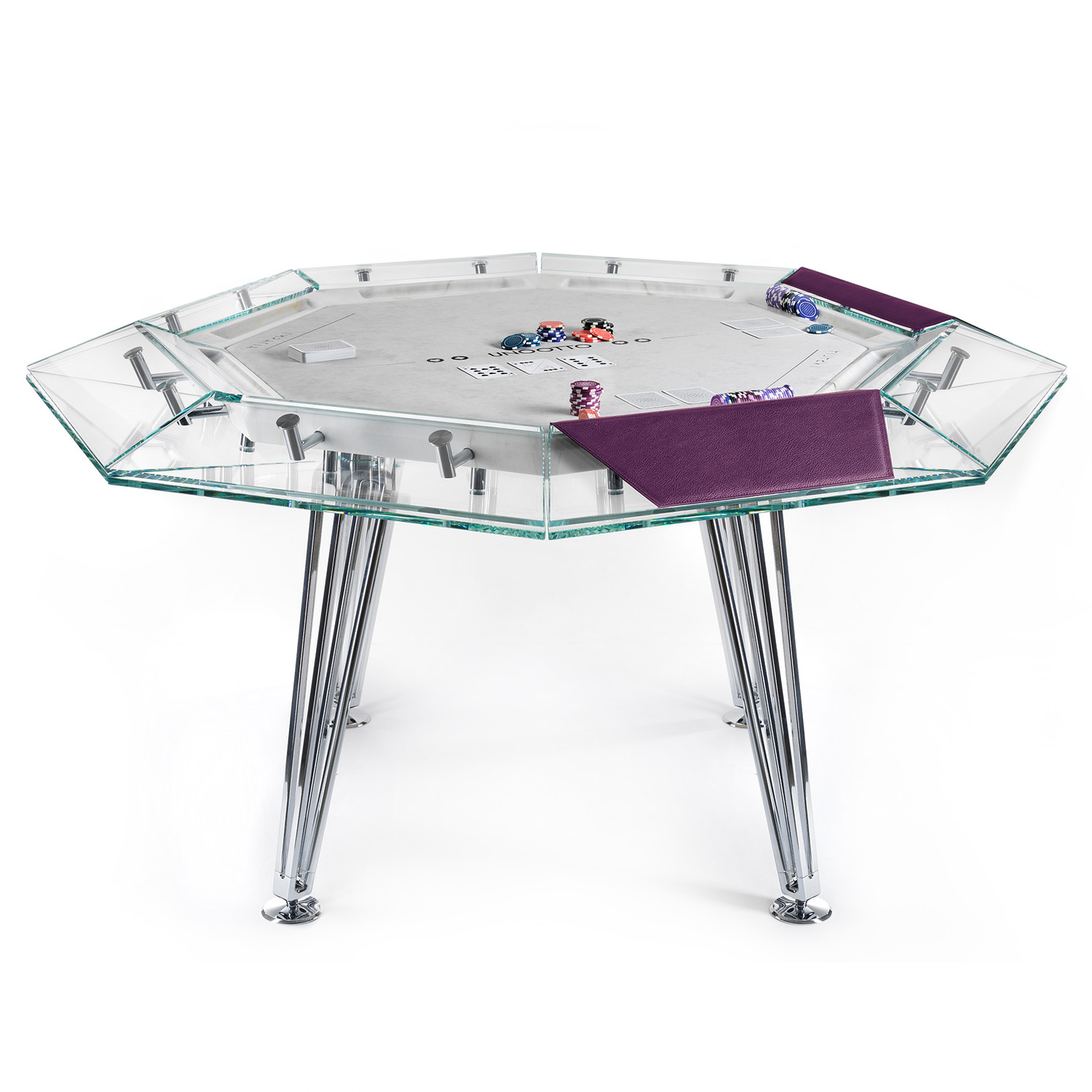 UNOOTTO Poker Table // 5 player (Leather: Purple + Alcantra: White