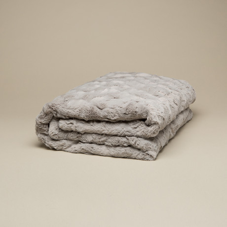 "Contempo Cuddle Fur Throw // Silver (50""L x 65""W)"
