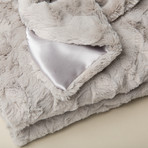 "Contempo Cuddle Fur Throw/Blanket // Silver (50""L x 65""W)"