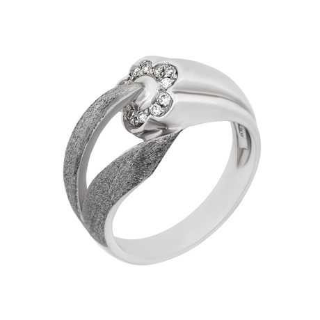 Vintage Zoccai 18k White Gold Diamond Ring // Ring Size: 8