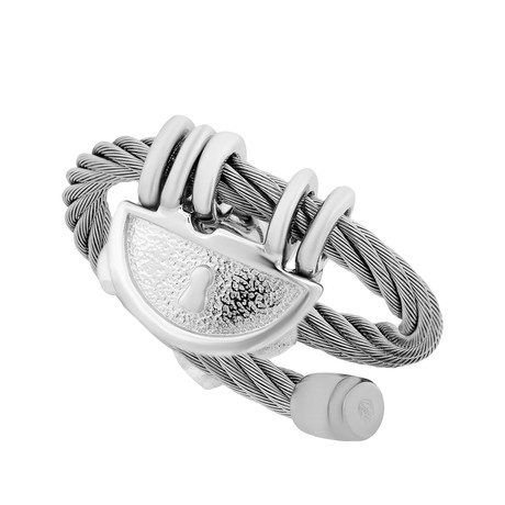 Charriol My Heart Stainless Steel Cable + White CZ Stone Ring // Ring Size: 5.75