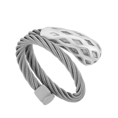 Charriol // Morning Dew Rhodium Plated Stainless Steel Cable Ring // Ring Size: M (5 - 7)