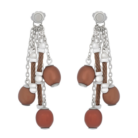 Charriol Pearl Stainless Steel + Bronze Steel Cable + Brown Pearl Earrings