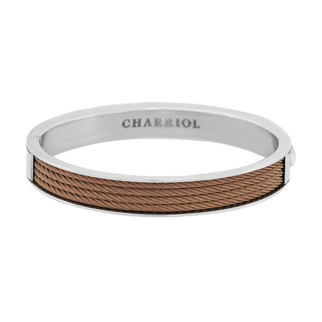 "Charriol Forever Stainless Steel + Bronze Steel Cable Bangle II (Inner Circumference: 6.5"")"