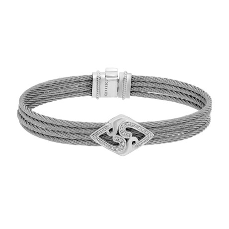 "Charriol // Paisley Stainless Steel + White Diamond + Steel Cable Bangle (Circumference: 6.5 "")"