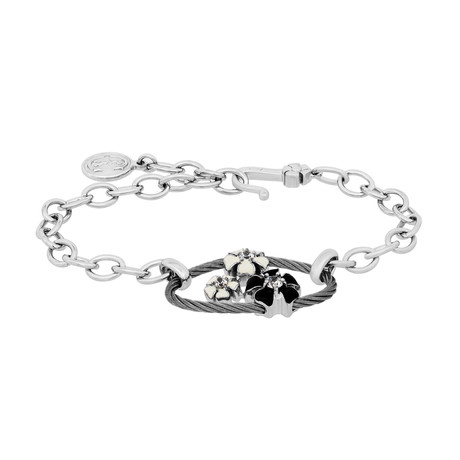 Charriol // Fleur des Alpes Rhodium Plated, Black + White Enamel, + Cubic Zirconia Stone Bracelet
