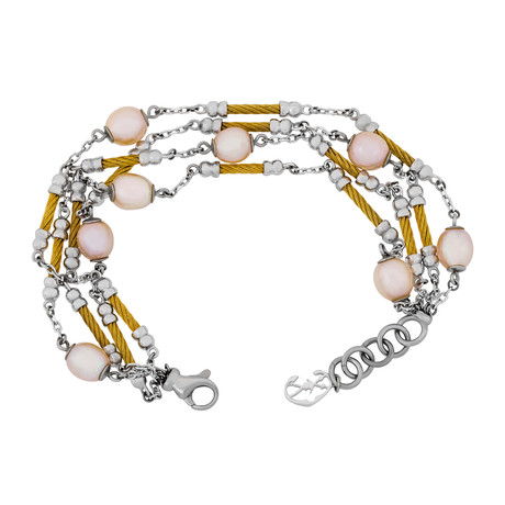 Charriol Pearl Stainless Steel + Yellow Steel Cable + Cream Pearl Bracelet