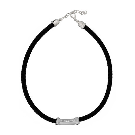 Charriol Bamboo Rhodium Plated + Black Rubber + Black Lacquer Necklace