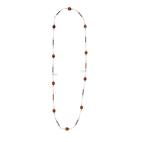 Charriol Pearl Stainless Steel + Bronze Steel Cable + Brown Pearl Necklace