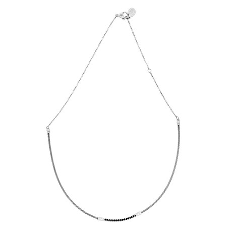 Charriol // Laetitia Stainless Steel + Black Spinels Necklace