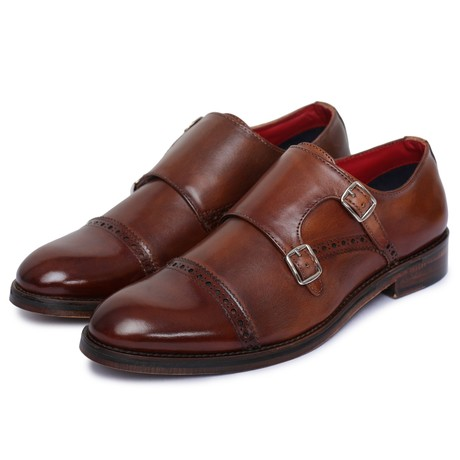 Captoe Double Monk Strap // Brown (US: 8)