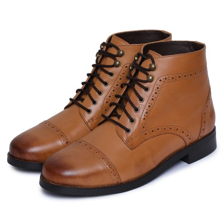 Toecap Lace Up Boots // Tan (US: 8)
