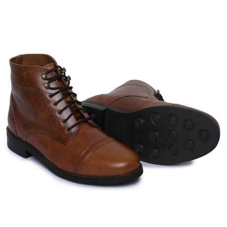 Toecap Lace Up Boots // Brown (US: 8)