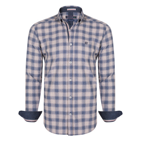 Octans Dress Shirt // Navy + Beige (XS)