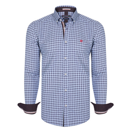 Perseus Dress Shirt // Blue + Navy + Red (XS)