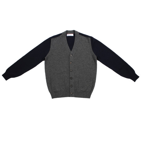 Mario Cashmere Two Tone Cardigan // Blue + Gray (Euro: 46)