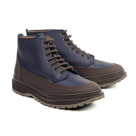 Grain Leather Contrast Boot // Navy + Brown (Euro: 39)