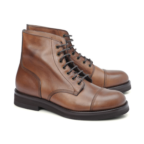 Leather Toe-Cap Lace-Up Boot // Brown (Euro: 39)