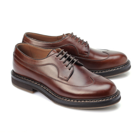 Leather Contrast Stitch Derby // Cognac (Euro: 39)
