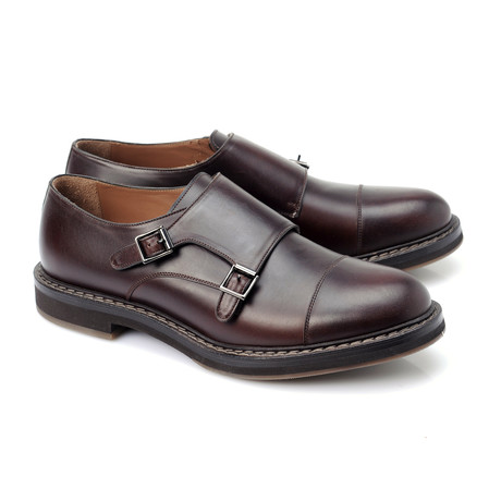 Leather Contrast Stitch Monkstrap // Burgundy (Euro: 39)